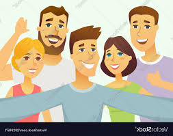 a group of friends cartoon people character vector