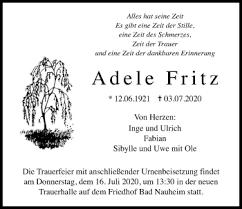 Traueranzeigen von Adele Fritz | mittelhessen-gedenkt.de