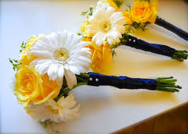 Yellow White And Blue Wedding Flowers