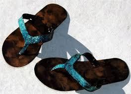 flip flop sandal wall art teal sparkle