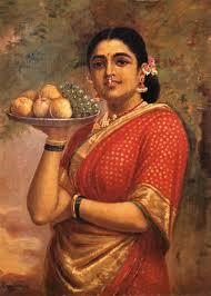 maharashtrian lady painting by artist raja ravi varma reion oil canvas