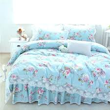 blue fl bedding light blue princess style fl bedding set queen full twin size lace ruffle blue fl bedding