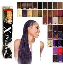 X Pression Ultra Braid Hair Extension Color Chart