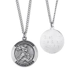 engravable saint michael medal pendant in sterling silver 3 lines