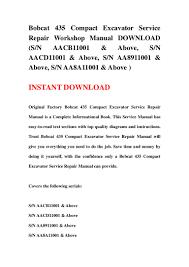 bobcat 435 compact excavator service repair workshop manual