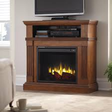 freestanding electric fireplace tv stand in heritage walnut