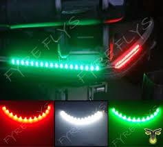 com 3x boat kayak navigation lights led lighting red green white 12 waterproof marine led strips sports outdoors