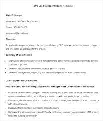 Resume For Team Leader In Bpo Template Templates In Outlook 2016 Bpo Proposal For Cv Word Free