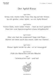 Der Apfel Riese Dieses Gedicht Könnt Ihr Mit Verteilten Rollen Mit