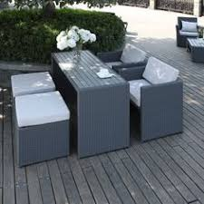 small space outdoor furniture. The Portfolio Aldrich 5-piece Dining Set Features Two Chairs, Ottomans And A Table In Grey Resin Wicker Composite Wood. Ideal For Small Space Living Outdoor Furniture