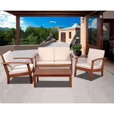 murano 4 piece eucalyptus patio conversation set with off white cushions