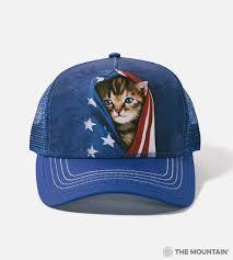 The Mountain Adult Trucker Hat Patriotic Kitten