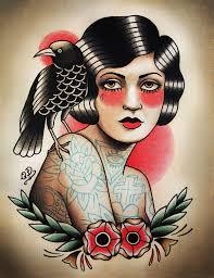 Flapper And Raven Tattoo Art Print Old School Tatto искусство