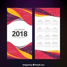 Calender Design Template Abstract 2018 Calendar Template Vector Free Download