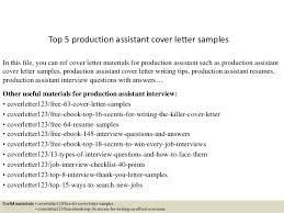 Cover Letter Production Assistant Top 5 Production Assistant Cover Letter Samples