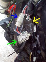 f4i no spark or fuel help green arrow is where i plugged into and had a jumper not sure what was jumped bought it that way yellow arrow is from right handle bar controls etc
