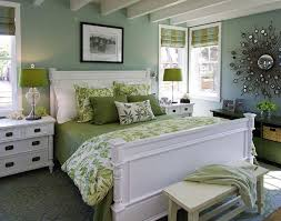 Green and white bedroom.