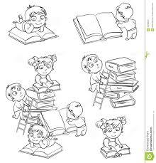 Libri Di Lettura Dei Bambini Nella Biblioteca Libro Da Colorare