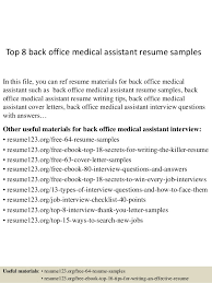 free office samples top 8 back office medical assistant resume samples 1 638 jpg cb 1431822997