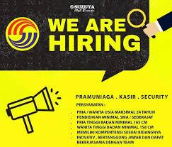 Jadilah bagian dari winning team kami dengan posisi : Lowongan Kerja Suzuya Mall Bireuen Aceh 4 Posisi