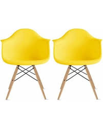 G 2xhome Set Of 2 Yellow Mid Century Modern Plastic Dining Chair Molded Arms  Armchairs Natural Wood