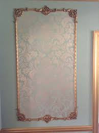 georgian architectural wall panel with center and handpainted damask canvas panel