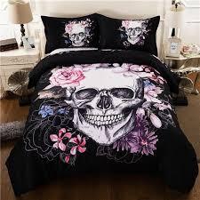 <b>Creative Skull</b> Rose <b>3d</b> Bedding Set Duvet Cover Pillowcases Bed ...