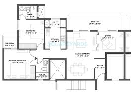 2 bhk 1375 sq ft apartment floor plan