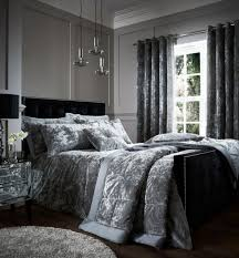 catherine lansfield silver crushed velvet duvet cover set super king