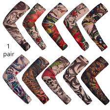 A Pair Anti Sunshine Fashion Men And Women Tattoo Arm Leg Sleeves High Elastic Nylon Halloween Party Dance Party Tattoo Sleeve
