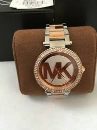 Michael Kors Parker <b>Rose Gold</b> Silver Two Tone Logo Dial 39MM ...
