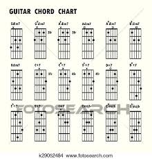 Notes In Guitar Chords Chart Set Of Music Notes Abstract Musical Background Basic