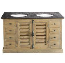 persiennes wood and blue stone freestanding basin unit