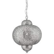 Moroccan Ceiling Light Uk Searchlight Moroccan Ceiling Pendant Light In Shiny Nickel Finish 9221 1ss