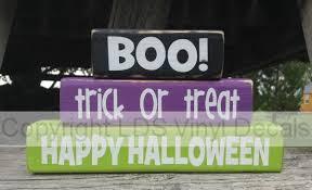 boo trick or treat halloween vinyl wood stacker2