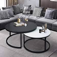 Dniebw nesting coffee table modern side table set of 2 end table living room table round coffee table sofa table bedside tables. Amazon Com Charahome Round Coffee Tables 2 Round Nesting Table Set Circle Coffee Table With Storage Open Shelf For Living Room Modern Minimalist Style Furniture Side End Table Of Stable Black White Kitchen