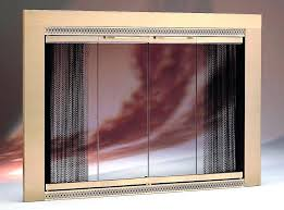 contemporary fireplace doors glass brushed nickel