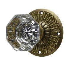 Antique door knob Nepinetwork Feathers Crystal Octagon Door Knob antique Brass Finish Lookintheattic Antique Door Knobs Feathers Plate Style antique Brass Finish