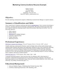 Communication Resume Summary Manager Template Objective Examples
