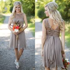 New Gray Country Bridesmaid Dresses 2016 Short Chiffon Beach Lace