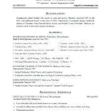 Sample Resume For A Student With No Experience Sample Resume For