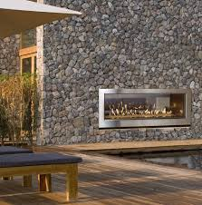 54 outdoor linear gas fireplaces in stone wall
