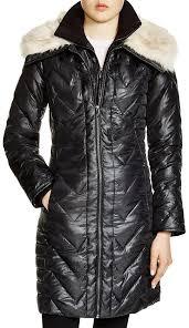 black puffer coats via spiga faux faux fur trim chevron puffer coat