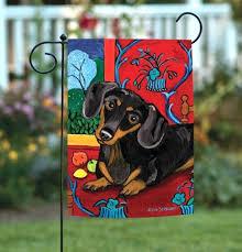 dachshund x colorful puppy dog portrait garden flag holiday flags