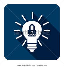 vector square blue icon lighting bulb. blue square light bulb with key lock sign flat long shadow style icon label vector lighting l