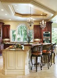 mediterranean lighting. Mediterranean Kitchen Style Illuminated With Recessed Lighting And Small Chandeliers Over Island : Stunning A