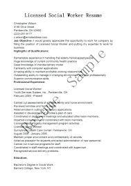 Sample Social Work Resume Objectives Sample Social Work Resume