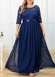 Modlily Size Chart Plus Size Lace Panel V Back Dress Modlily Com Usd 41 03