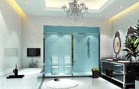 sparkling bathroom with glow ceiling also crystal chandelier lighting idea