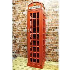 red telephone box wooden wine rack cabinet 171x40x40cm